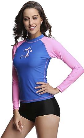 Rash Guard Women Long Sleeve Rashguard for Women UV Sun Protection Swimsuits  top UPF 50+ at Amazon Women's Clothing store