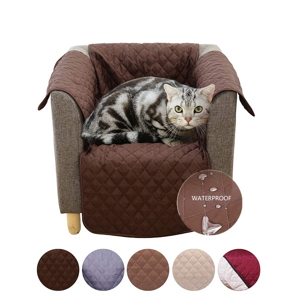 AIMENG Sofa Cover Slipcovers, Waterproof Anti-Slip Couch Covers with Plum Buckle and Elastic Straps – Sofa Covers Protect Furniture from Stains Great for Pets, Dogs, Cats, Kids Chair Dark Brown
