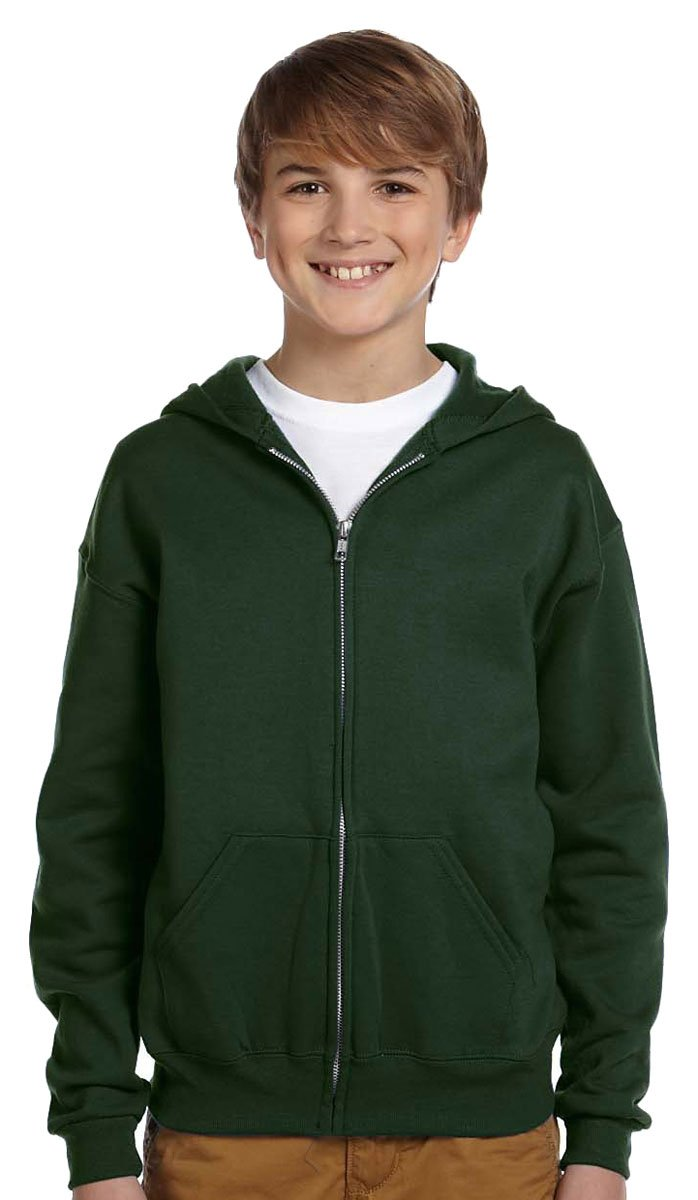 Jerzees Youth Nublend Full-Zip Hooded Sweatshirt, Frst Green, Small