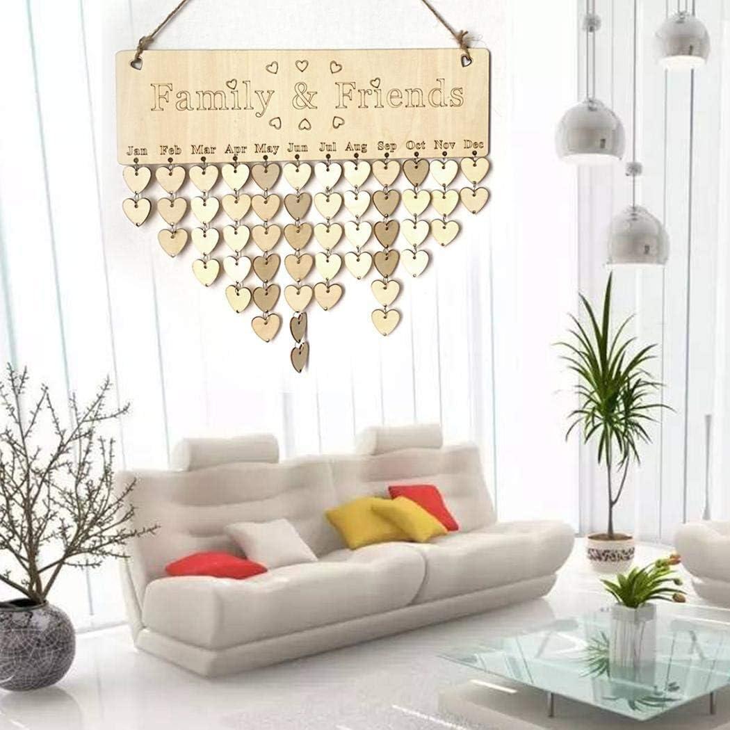 XixiniCadeau pour la famille et les amis anniversaire Tracker calendrier conseil, bricolage en bois anniversaire anniversaire rappel calendrier Tenture murale pour Home Bar décoratif