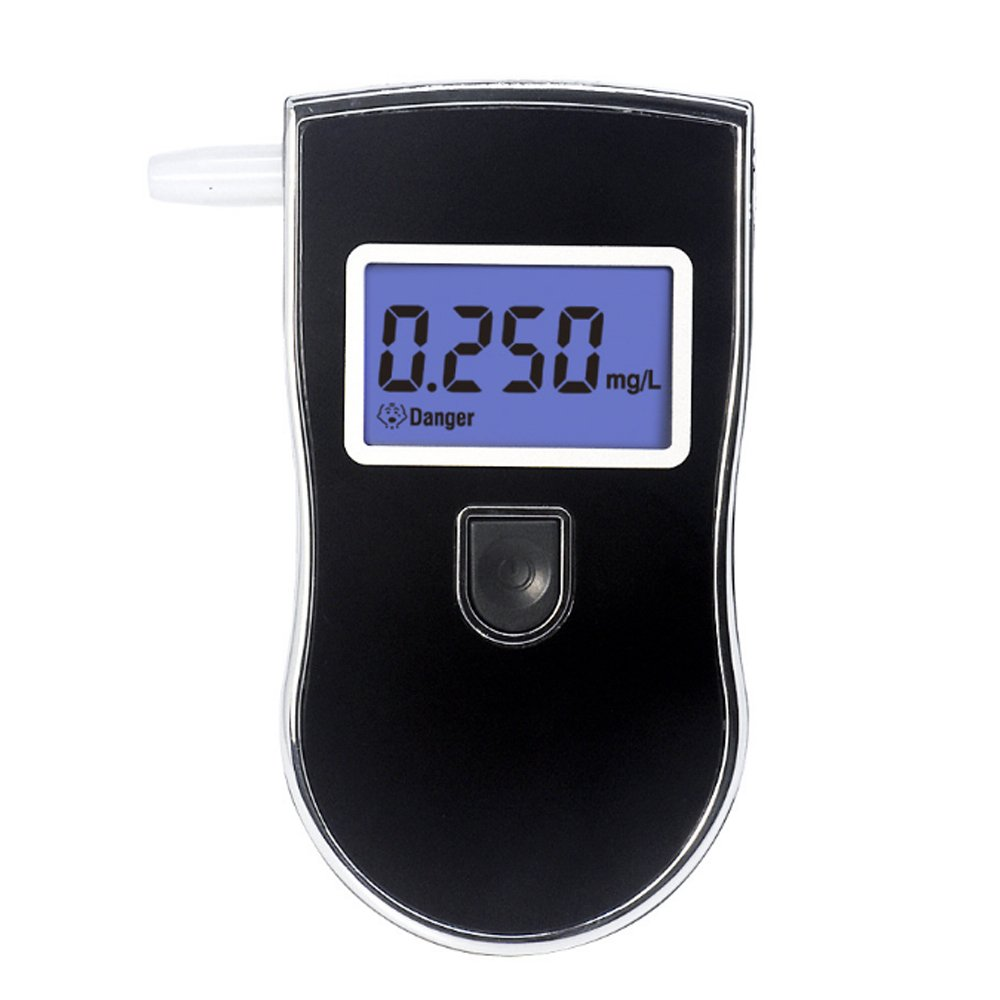Breathalyzer to Test Alcohol, Portable Digital LCD Alcohol Tester Personal Breathalyzer Home Breathalyser Detector Analyzer Alcotester with 5 Mouthpieces Black