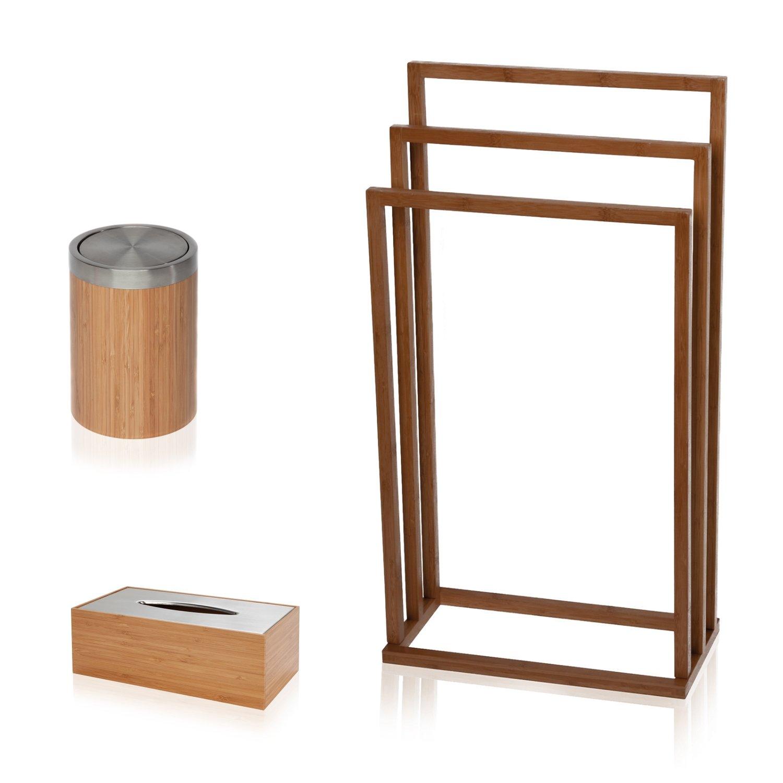 m/öve Bamboo Square Handtuchhalter 45 x 17,5 x 84 cm aus Bambus wood