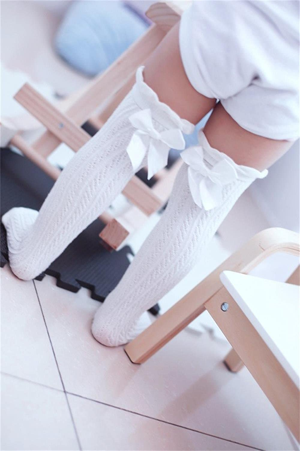 UdobuySuper Cute Sweet 5 Pairs Girl Lace Bows Princess leg Warmers Cotton Over Calf Knee High Socks