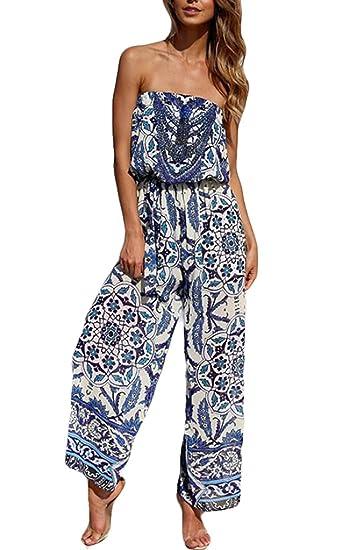 cc75c3f0ed80 Amazon.com  XiaoTianXin-women clothes XTX Women s Printed Strapless Ethnic  Print Wide Leg Palazzo Maxi Jumpsuit  Clothing