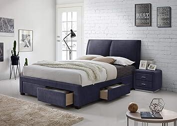 Montana 4 Drawer Storage Fabric Bed Upholstered King Size Light Dark Grey  Modern Italian Style Designer