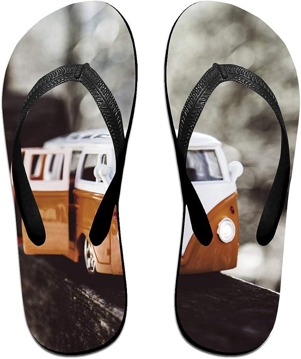 Couple Slipper Bus Toys Photo Print Flip Flops Unisex Chic Sandals Rubber Non-Slip Beach Thong Slippers