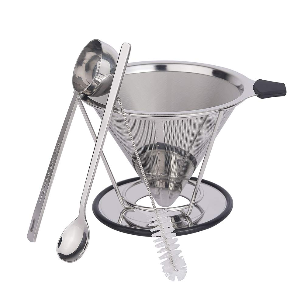 Pour Over Coffee Dripper, GRATU Stainless Steel Coffee Filters Cone with Stand Reusable Paperless Pour Over Coffee Maker for 1-4 Cup by GRATU (Image #1)