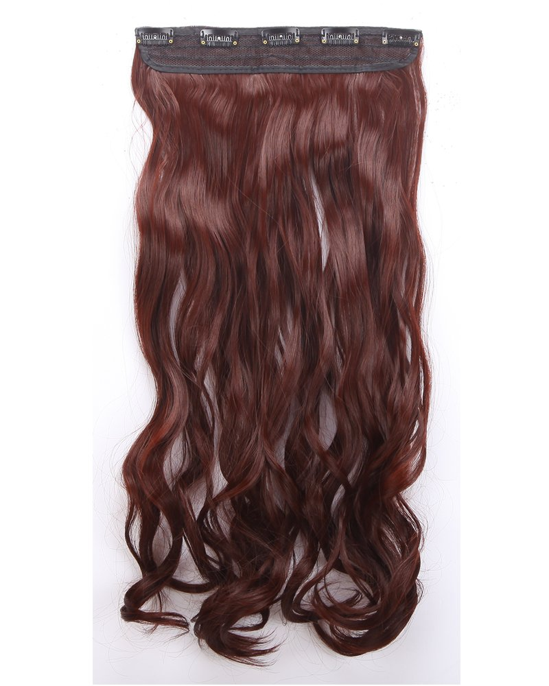 One Piece Clip In Hair Extensions 24 Curly Half Head Mixed Colors