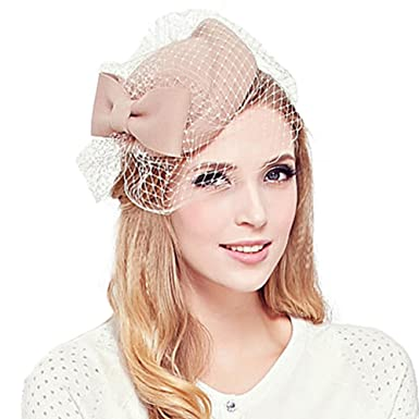 24f602df9 Pillbox Hat Vintage Bow Fascinator Hats Women's Church Hat Cocktail Party  Wedding Hat with Veil Camel
