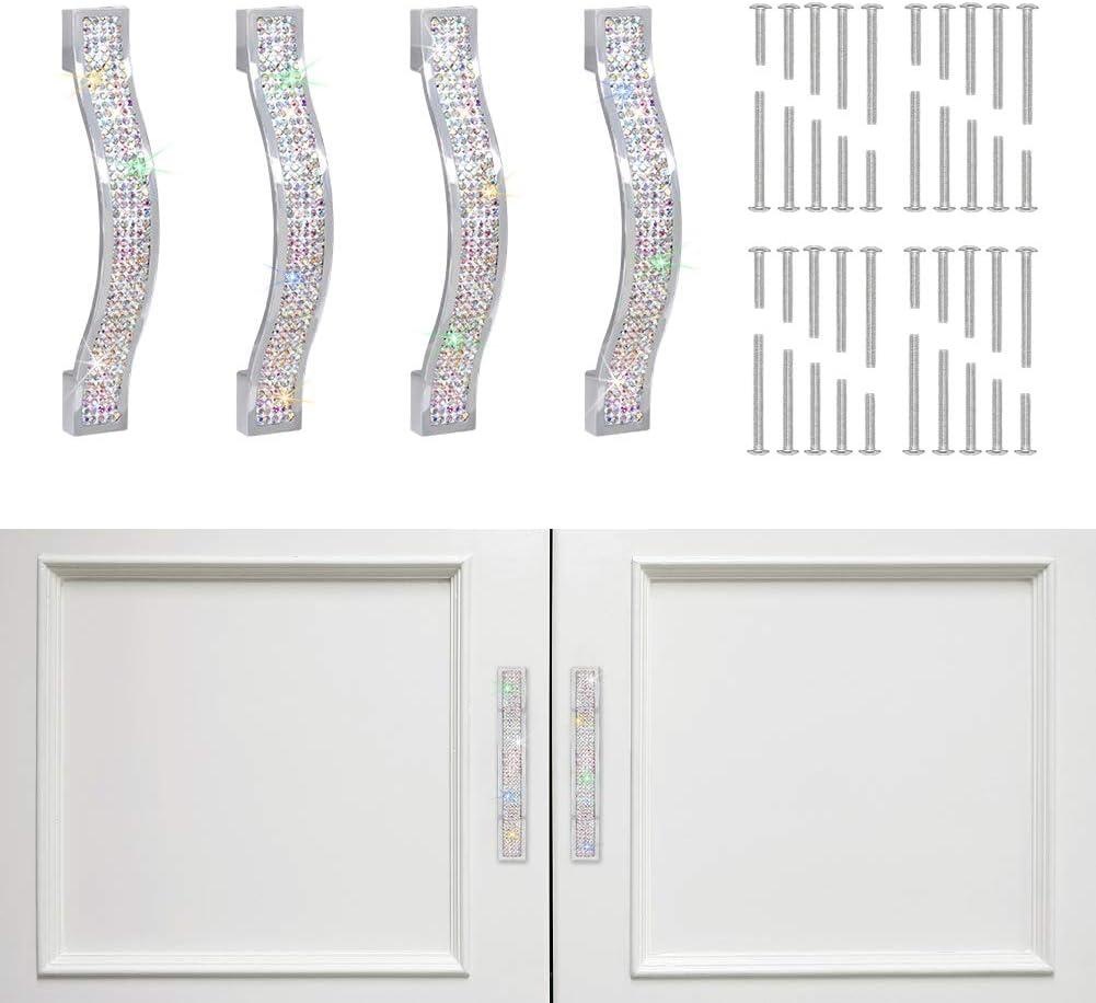 SAVORI Drawer Pulls Handle Bling Crystal Dresser Cupboard Closet Cabinet Wardrobe Door Furniture Handles Modern Square Handle Pull Hardware for Home Kitchen Bathroom 4 Pack (11cm - 4 Pack, AB Color)