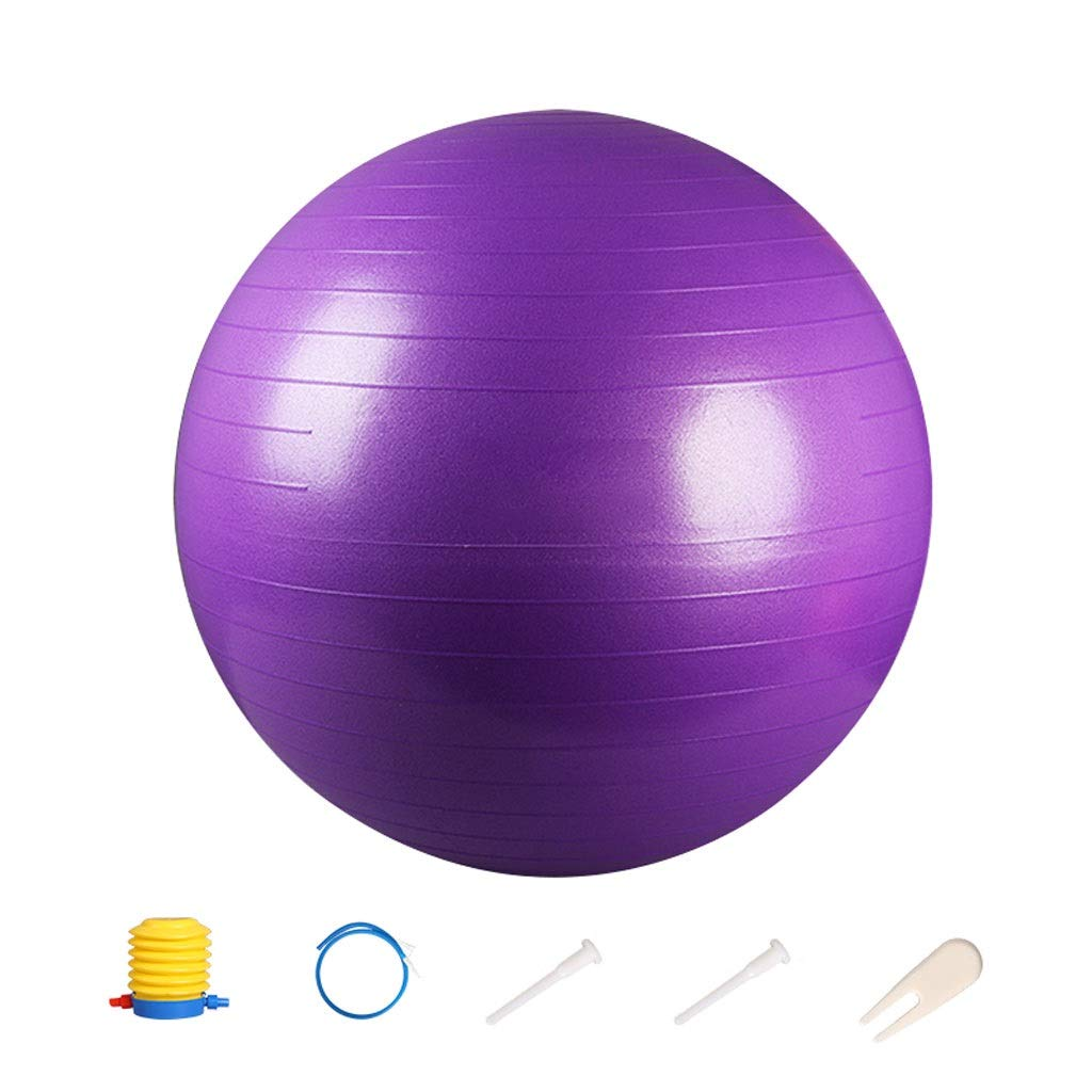Exercise Ball,Anti-Slip & Anti-Burst for Safety. Ideal for Yoga, Pilates Or Birthing Therapy Gym Ball Core Training and Physical Therapy, Improves Balance (Color : Purple, Size : 55cm)