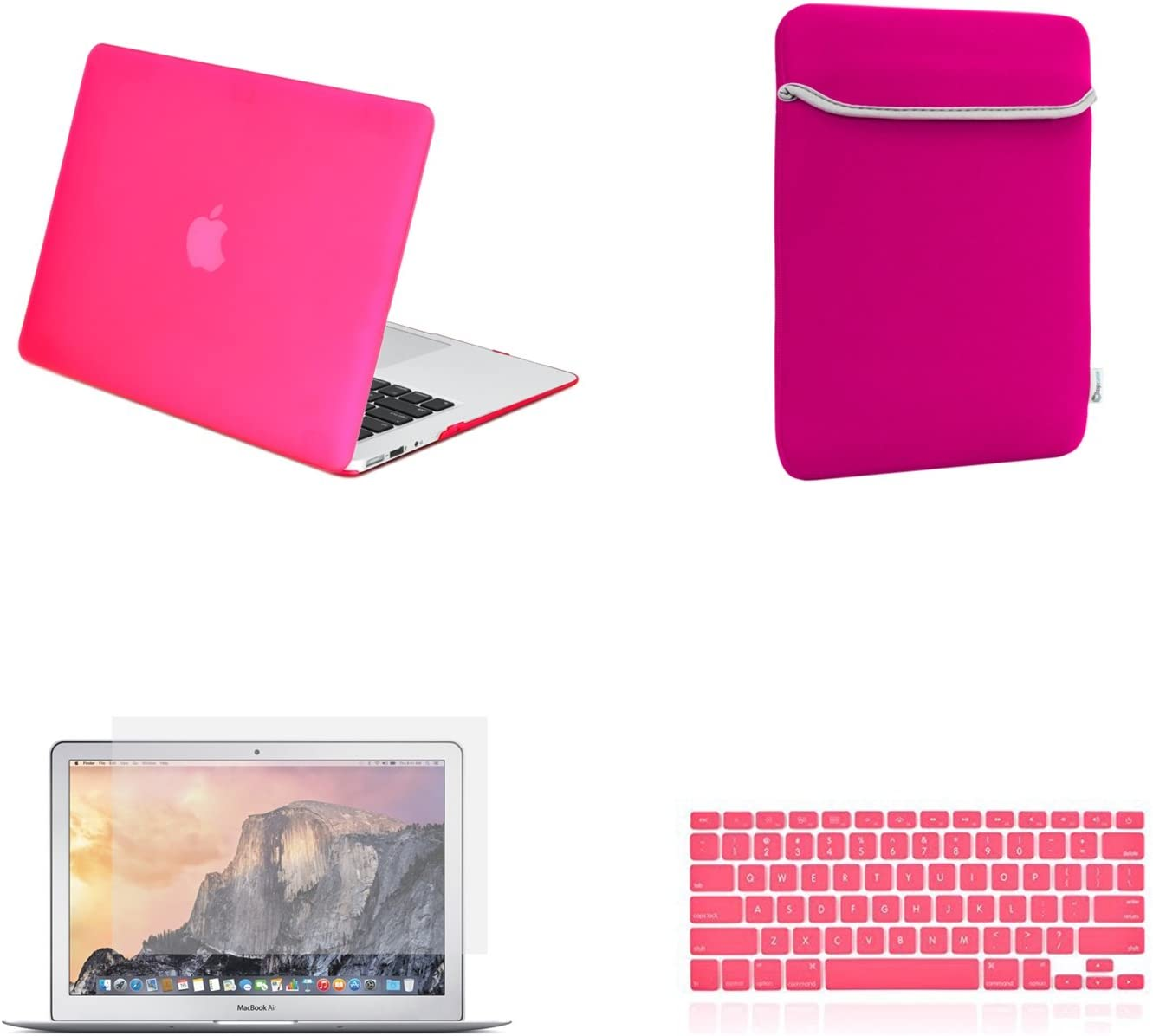 """TOP CASE - 4 in 1 Essential Bundle Rubberized Hard Case, Keyboard Cover, Screen Protector, Sleeve Bag Compatible MacBook Air 13"""" Model: A1466 & A1369 (Older Version, Release 2010-2017) - Hot Pink"""