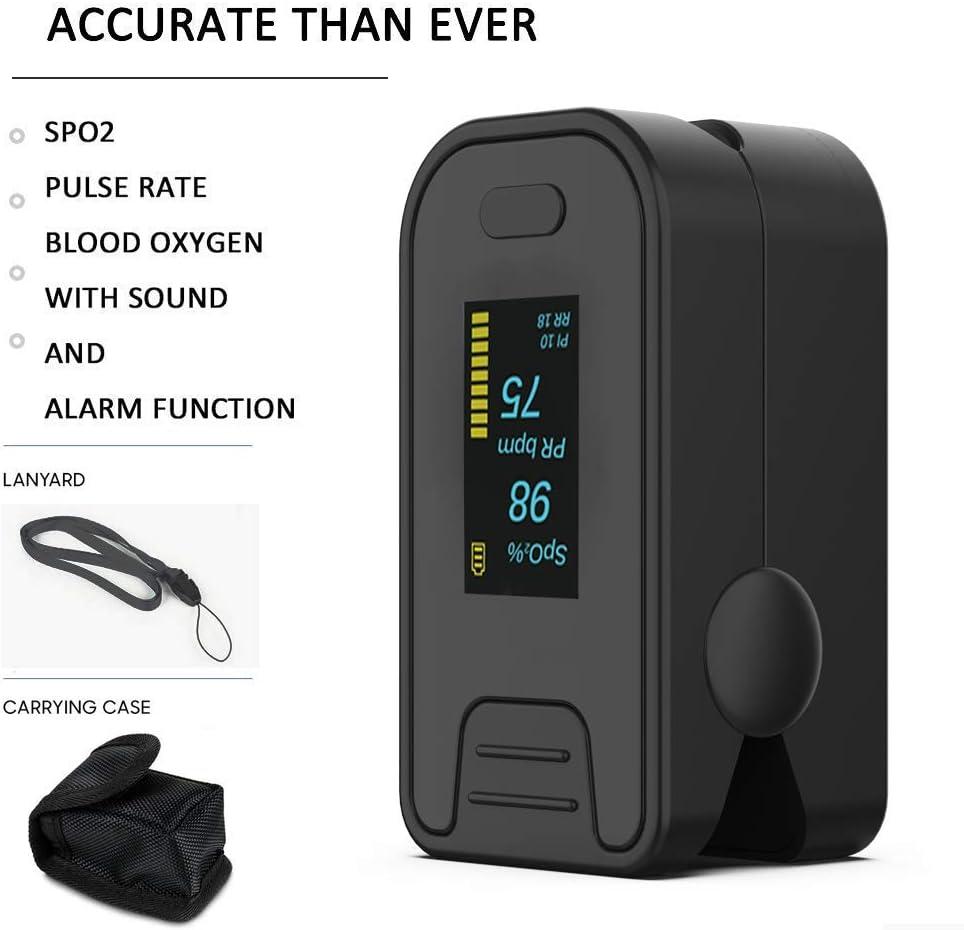 Oxímetro de pulso - MG Care Pro Series Nuevas funciones Modos Rata respiratoria, Spo2, PR con cordón y bolsa (Mystic Black) (black) (con bolsa)