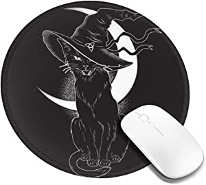 Black Cat with Pointy Witch Hat Line Art Customized Designs Non-Slip Rubber Base Gaming Mouse Pads for Mac,7.9x7.9 in, Pc, Computers. Ideal for Working Or Game