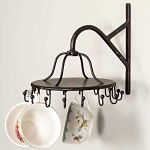 Colonial Tin Works 16 Hook Wall Mounted Spinning Rack for Jewelry Garments Belts Clothes Towels Kitchen Mugs Cups Cast Iron Vintage Inspired Rustic Farmhouse Style Decor Black