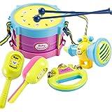 Creation Drum Set per i bambini, 5pcs mano drum beat strumento musicale gioco sconcerta il giocattolo dei bambini educativi
