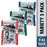 Louisville Vegan Jerky - 3 Flavor Variety Sampler Pack, Vegan/Vegetarian Jerky, 21 Grams of Protein (Bourbon Smoked Black Pepper, Sriracha Maple & Bourbon Smoked Spicy Chipotle, 3 oz)