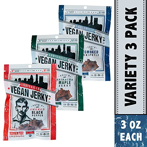 Louisville Vegan Jerky - 3 Flavor Variety Sampler Pack, Vegan/Vegetarian Jerky, 21 Grams of Protein (Bourbon Smoked Black Pepper, Sriracha Maple & Bourbon Smoked Spicy Chipotle, 3 (Vegan Jerky)