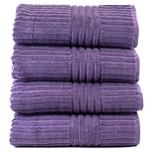 Luxury Hotel & Spa Towel Turkish Cotton Bath Towels - Plum - Stripe - Set of 4