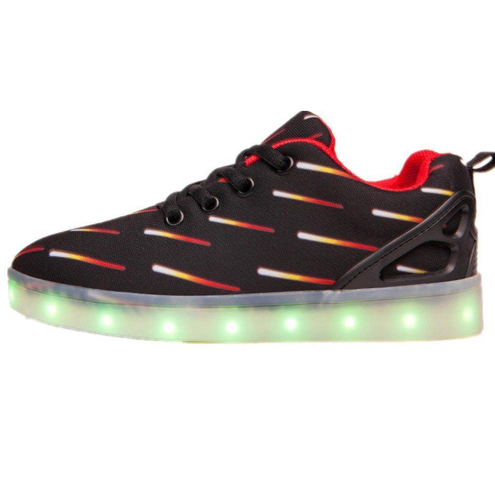 LED Light Up Shoes USB Charging Flashing Sneakers For Kids Boys Girls for Christmas Halloween Gift(Black 13 M US Little Kid)
