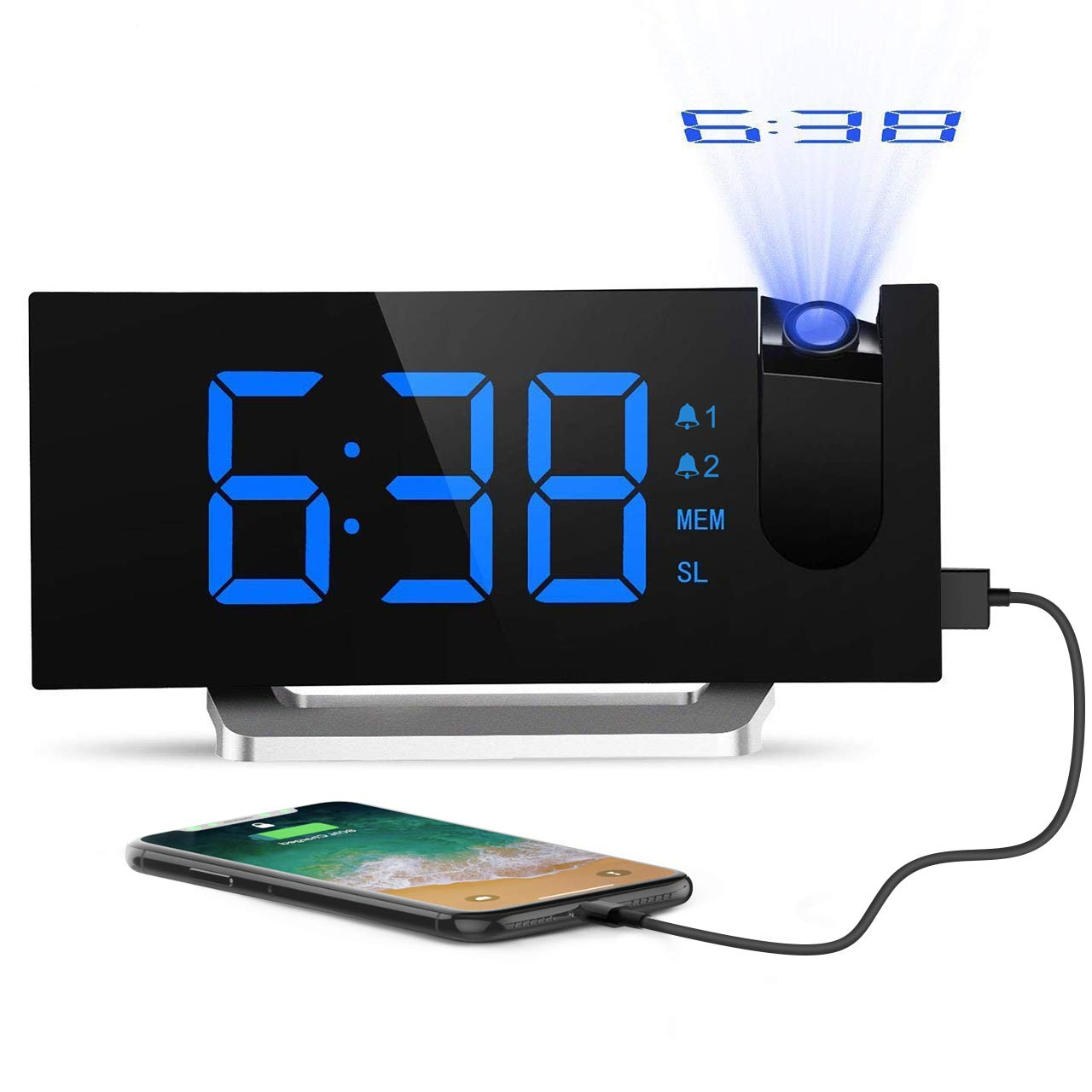 Mpow Projection [2018 Upgraded Version], Digital Alarm Clock with 2 inch LED Dimmer, 5 Display Brightness, 4 Adjustable Sounds, 3 Levels of Volume, 9-Minute Snooze Function, for Bedroom, Office, Blue, 1 PAMPHM353ABUK-UKVV2