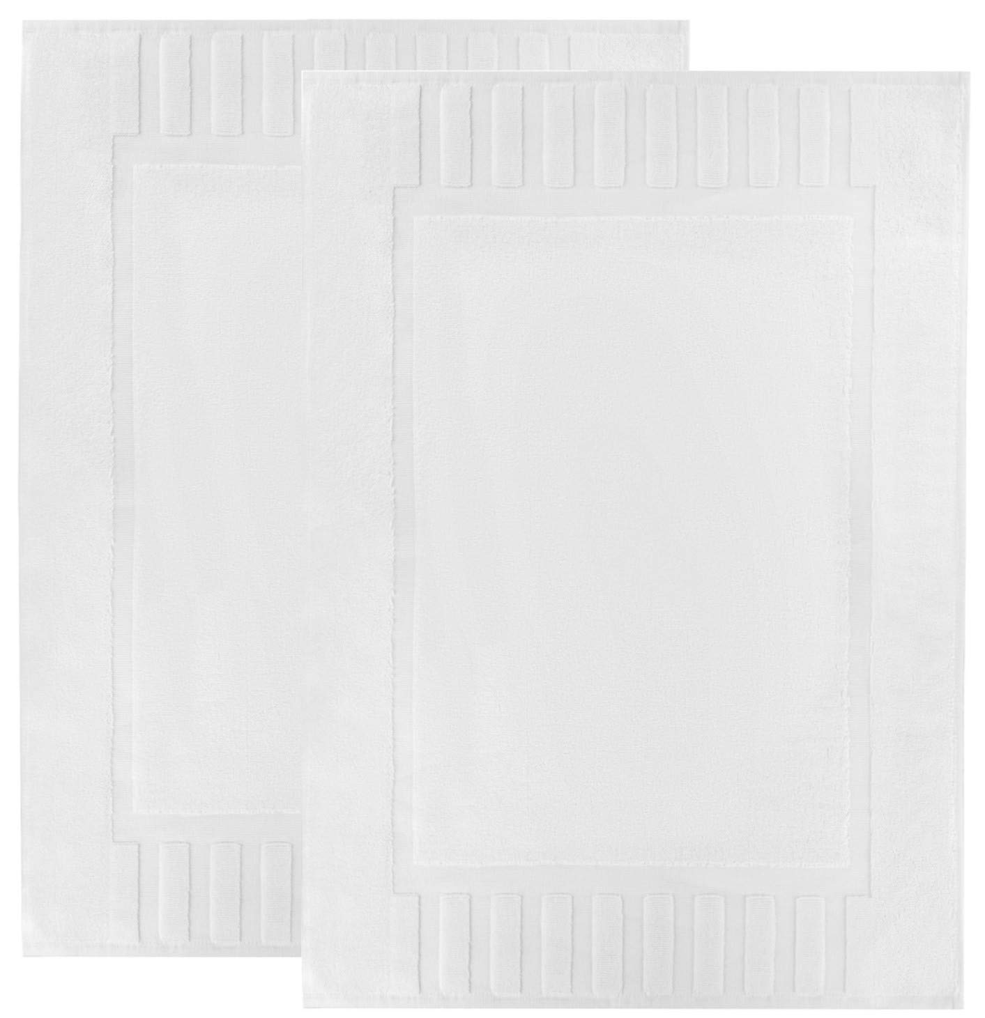 Luxury Bath Mat Floor Towel Set - Absorbent Cotton Hotel Spa Shower/Bathtub Mats [Not a Bathroom Rug] 22''x34'' | White | 2 Pack by White Classic
