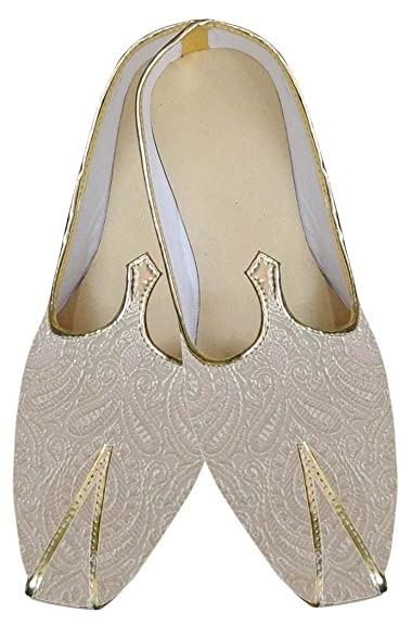 Mens Ivory Brocade Indian Wedding Shoes MJ0163