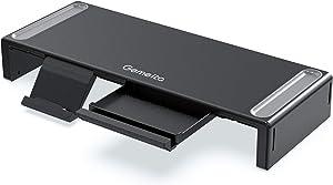 Gemeita Monitor Stand Riser, 3-Width Adjustable Computer Monitor Stand, Foldable Desktop Organizer with Storage Drawer, Pen Slot & Phone Stand for Computer, Desktop, Laptop