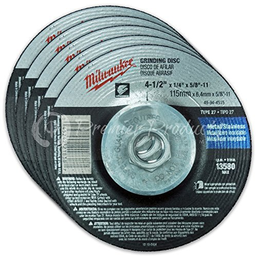 Milwaukee 5 Pack - 4 1 2 Hubbed Grinding Wheel For Grinders - Aggressive Grinding For Metal & Stainless Steel - 4-1/2'' x 1/4 x 5/8-Inch | 11 UNC | Depressed