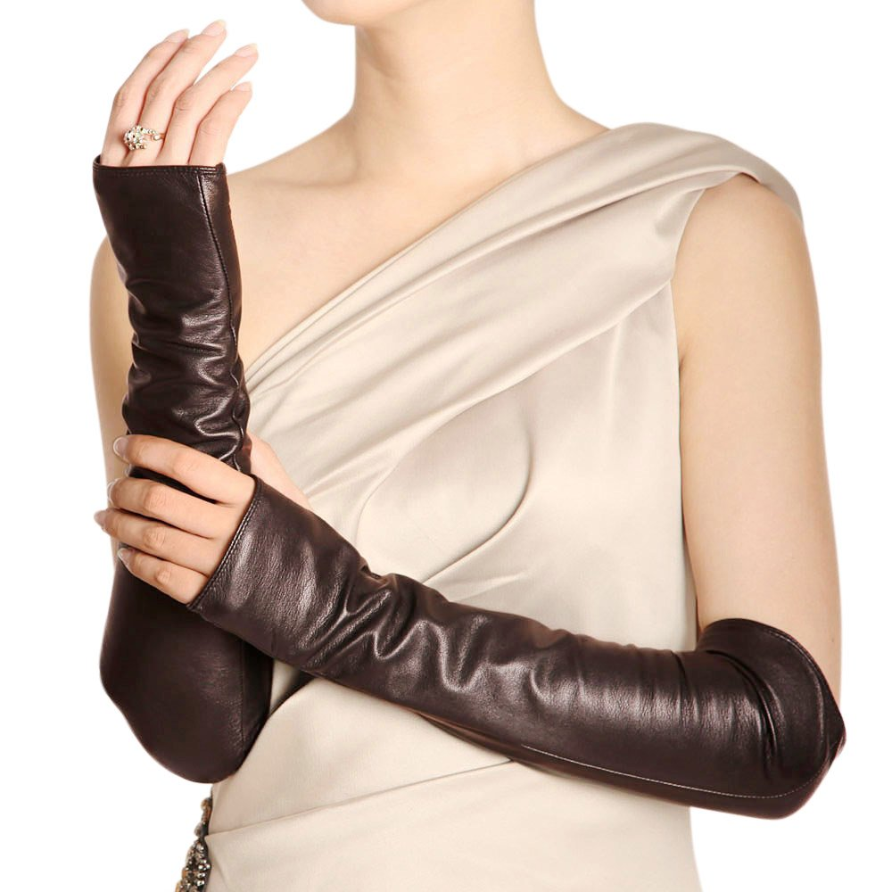 WARMEN Women Genuine Nappa Leather Elbow Long Fingerless Driving Gloves for Fur Coat (M, Brown)