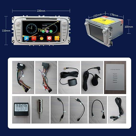 Unidad de navegación para radio estéreo de coche para Ford Focus S-MAX Mondeo C-MAX Galaxy, pantalla táctil de 7 pulgadas, reproductor de DVD 2 DIN, Bluetooth con cámara de visión trasera, tarjeta