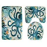 Bath Rug Mat Set 3 Piece, Kids Bathroom Rug Set Include Shower Carpet, Contour Bath Mat and Toilet Lid Cover, Soft Flannel Non Slip Sea World Marine Animal Pattern
