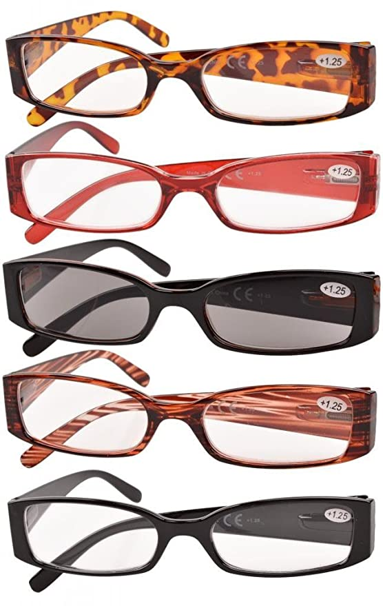 27aa21f5579 Eyekepper Spring Hinge Plastic Reading Glasses (5 Pack Mix) Includes  Sunglass Readers Women +2.0  Amazon.co.uk  Health   Personal Care