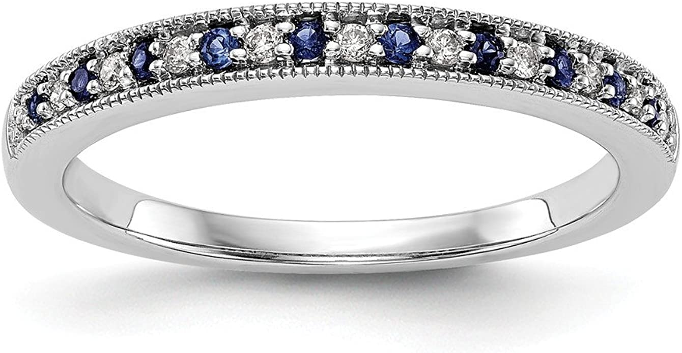 This is a graphic of Amazon.com: 40k White Gold Diamond and Sapphire Wedding Band Ring