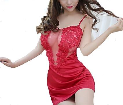 zhaoaiqin Ropa interior sexy de verano Perspectiva de las mujeres Traje de falda de pijama de