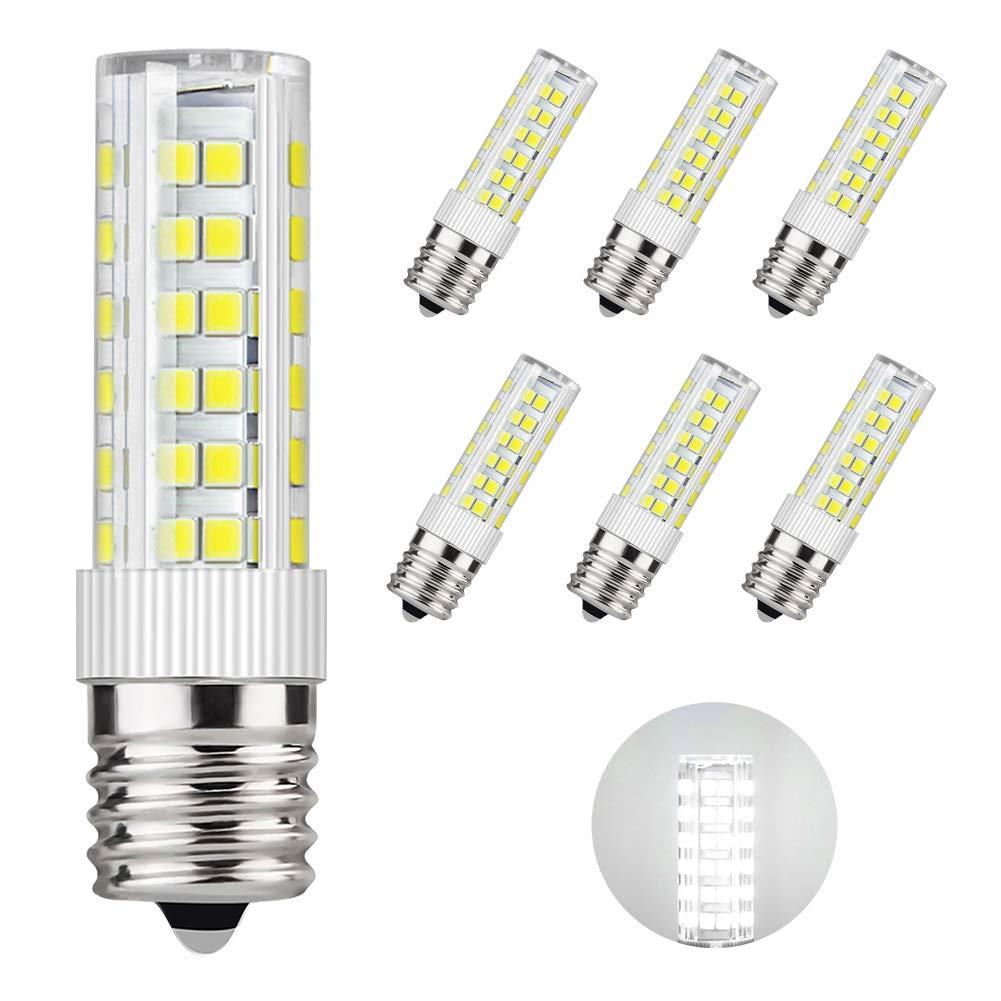 DiCUNO E17 LED Bulb Microwave Oven Light 6 Watt Appliance Bulb Daylight White 6000K, 550lm, 60W Halogen Equivalent AC110-130V (6-Pack)