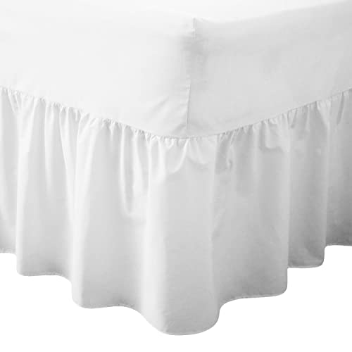 Double Bed White Deep Fitted Frilled Valance Sheet 200