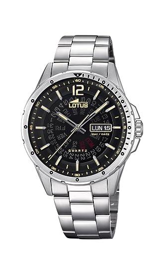 Lotus Watches Reloj Análogo clásico para Hombre de Cuarzo con Correa en Acero Inoxidable 18524/4: Amazon.es: Relojes