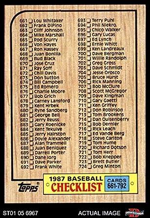Amazoncom 1987 Topps 792 Checklist 661 792 Baseball