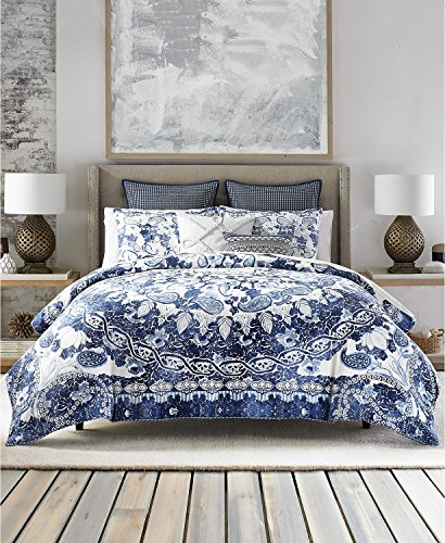 (Tommy Hilfiger 109945TH005 Comforter Set, Full/Queen, Blue/White)