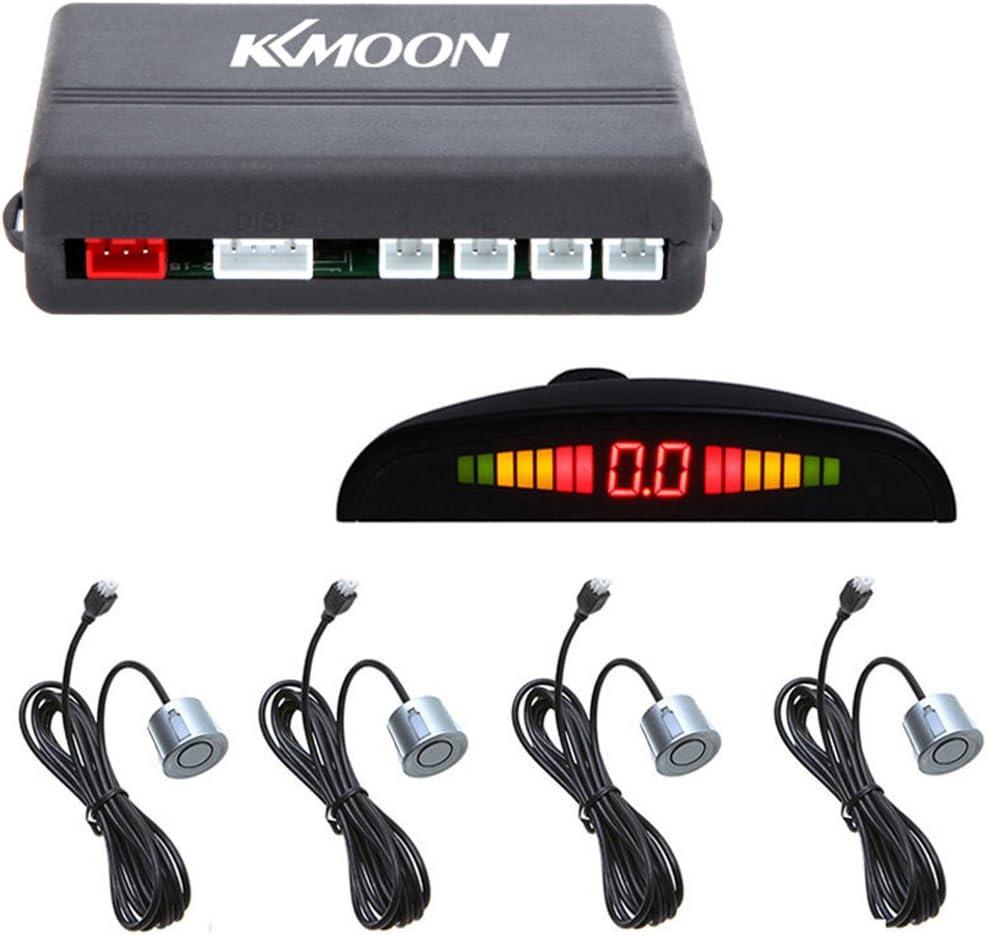 KKmoon Radar de recul avec syst/ème de capteurs de stationnement pour voiture avec /écran LED r/étro/éclair/é et 4 capteurs Noir