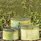 Whole House Worlds The Grand Tour Galvanized Zinc Planters, Palmetto Lace Pattern, Ovals, Carry Handles, Distressed Green and Rusty Patina, Various Sizes from 13 to 9 1/2 Inches Long, By