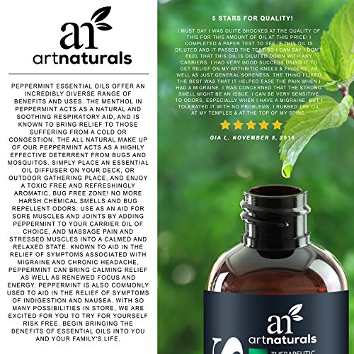 ArtNaturals Peppermint Essential Oil 4 oz -100% Pure and Natural Premium Therapeutic Grade Mentha Peperita - Best Fresh Scent for Home & Work, Perfect for Aromatherapy, Relaxation, Skin Therapy by ArtNaturals (Image #5)