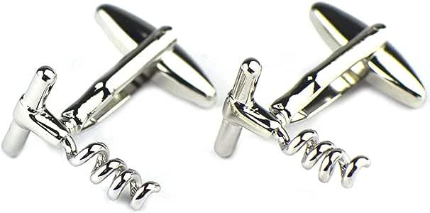 AmDxD Gemelos de Cobre para Hombres Plata Vino Botella Abrelatas Gemelos Camisa Gemelos Rock 1.6CM: Amazon.es: Joyería