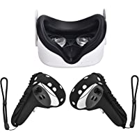 XIAOGE Silicone Controller Grip Cover for Oculus Quest 2 with Face Cover Combo, VR Headset Accessories Sweatproof Anti…