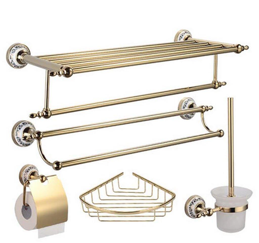 B MX Towel Stands Towel Rack - ABS, gold Antique Hardware Pendant Set, Bathroom Shelf, Suitable for Bathroom, Home @ (color   A)