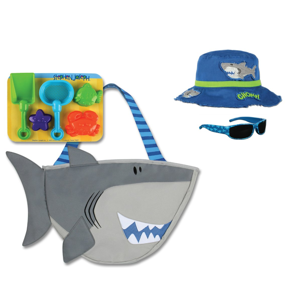 Stephen Joseph Shark Beach Tote Bag with Shark Bucket Hat and Sunglasses for Kids