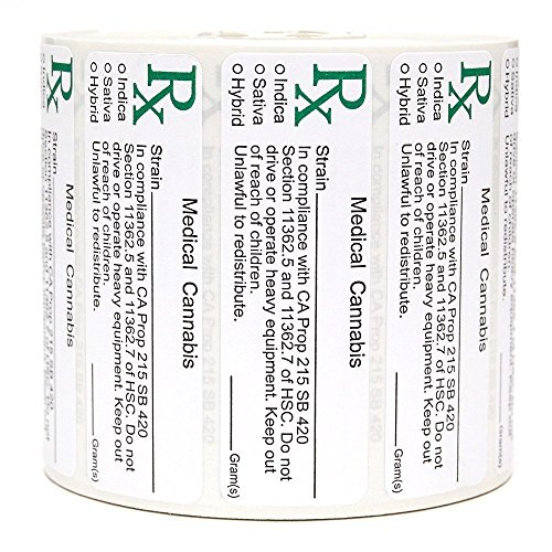 California Rx Medical Cannabis Compliant Strain Labels - 1000 labels by A&A