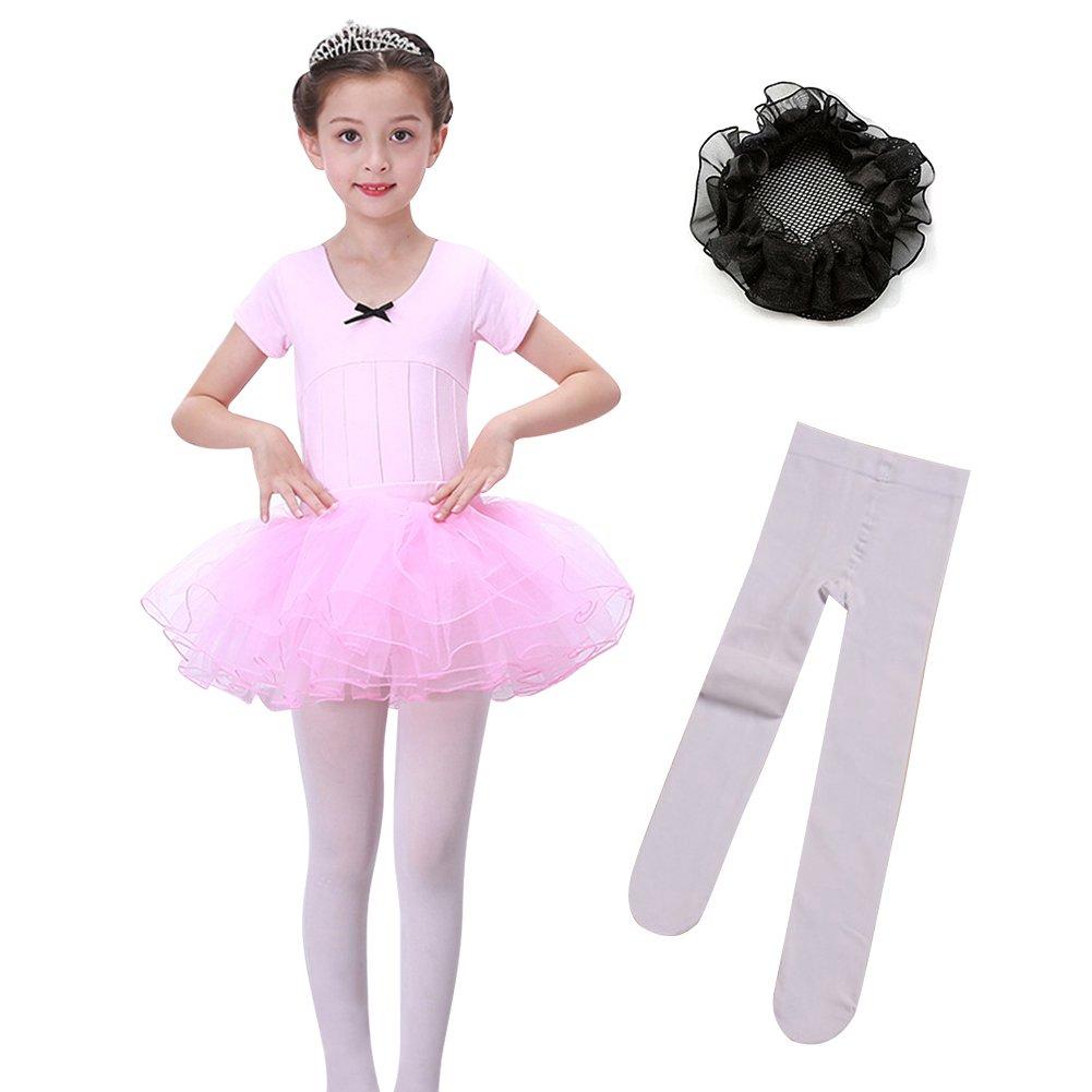 9a7aa5f34 Amazon.com: LEINASEN Girls' Ballet Leotard, Toddler Short Sleeves Dance  Leotard with Tutu Skirt, Footed Tights and Bun Hair Net: Clothing