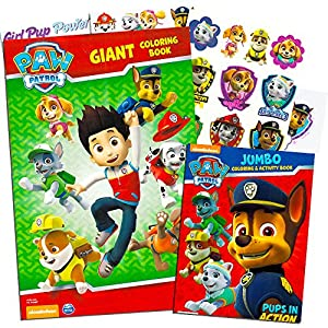 Paw Patrol Coloring and Activity Super Set -- 2 Jumbo Coloring Books, Poster, Stickers, Decals, Temporary Tattoos and More (Party Pack)